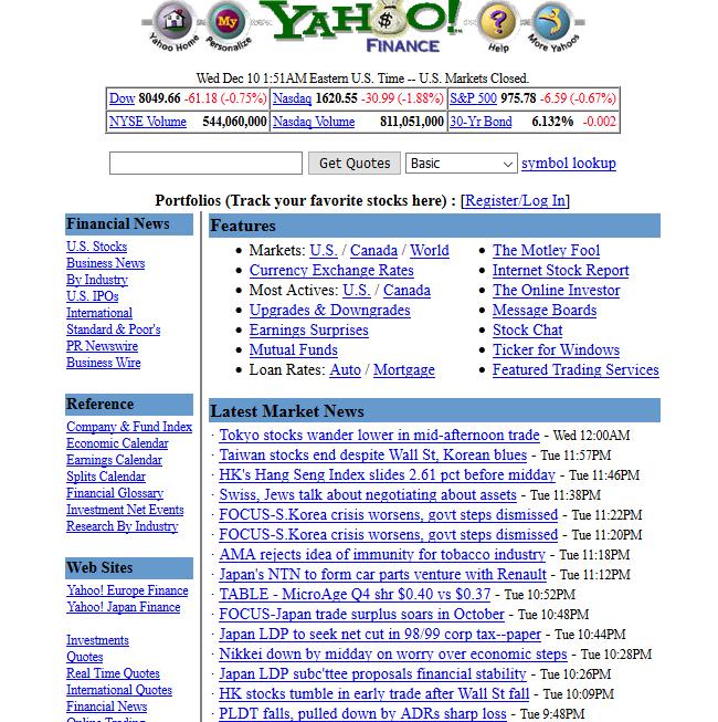 Strona startowa serwisu Yahoo! Finance